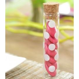 Eprouvettes à dragées à pois blanc en verre 10 cm les 48