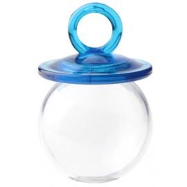 Boîtes à dragées tétine turquoise plexi transparent 6.7 cm les 24