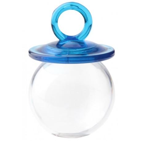Boîte à dragées tétine turquoise plexi transparent 6.7 cm les 48