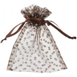 Sachets à dragées chocolat à pois blancs les 10