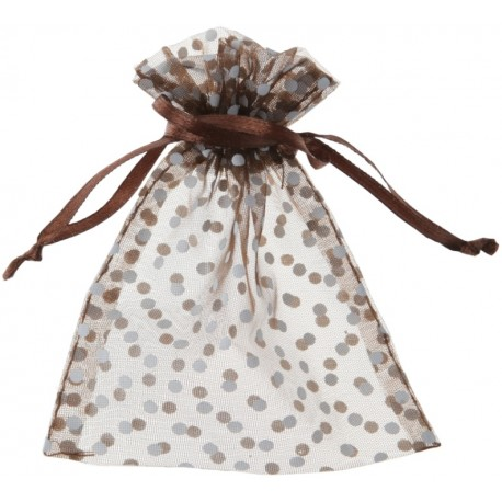 Sachet à dragées chocolat à pois blancs les 10