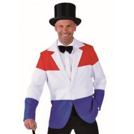 Déguisement veste rouge blanc bleu homme luxe
