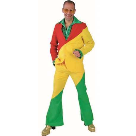 Déguisement costume rouge jaune vert homme luxe