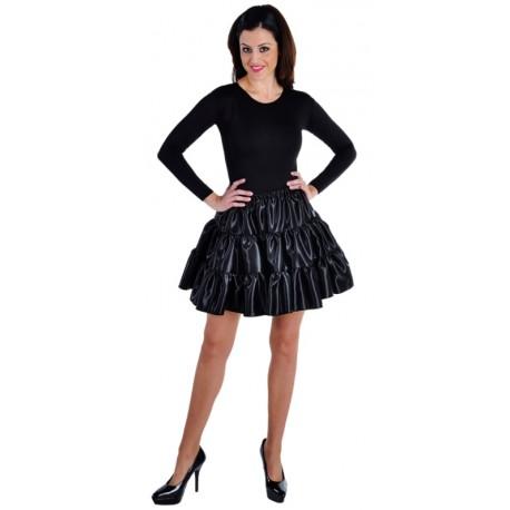 Déguisement jupe courte noire à volants satin femme