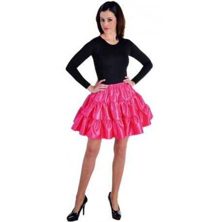 Déguisement jupe courte fuchsia à volants satin femme