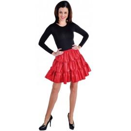 Déguisement jupe courte rouge à volants satin femme