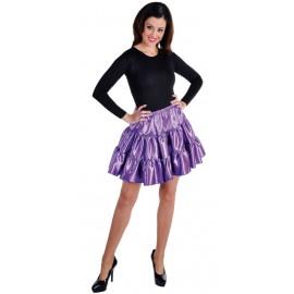 Déguisement jupe courte violette à volants satin femme