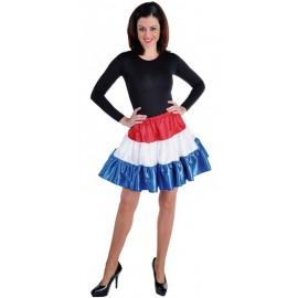 Déguisement jupe courte rouge blanc bleu à volants satin femme