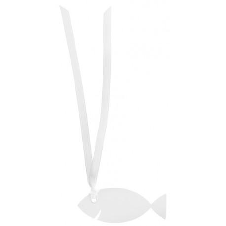 Étiquette poisson blanc carton avec ruban les 12