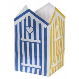 Photophores cabine de plage papier ignifugé 10 cm les 6