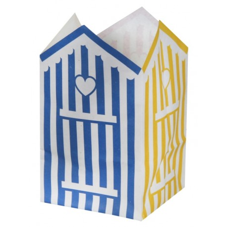 Photophore cabine de plage papier ignifugé 10 cm les 6