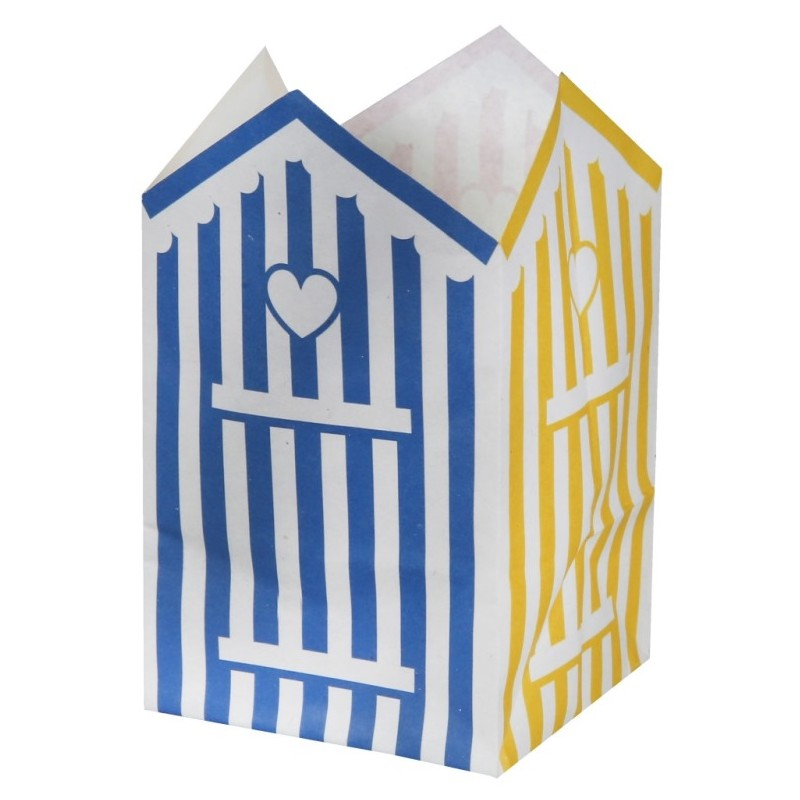 6 photophores cabine de plage papier ignifug 10 cm achat photophores. Black Bedroom Furniture Sets. Home Design Ideas