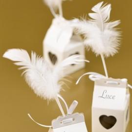 Piques plumes blanches 8 x 14 cm les 12