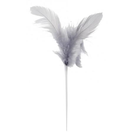 Pique plumes grises 8 x 14 cm les 12