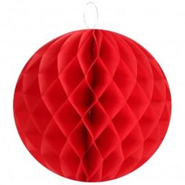 Boule papier alvéolé rouge 30 cm les 2