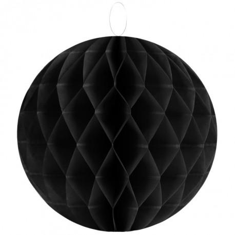 Boule papier alvéolé noir 30 cm les 2