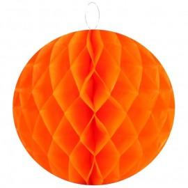 Boule papier alvéolé orange 30 cm les 2