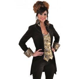 Déguisement marquise manteau noir or femme luxe