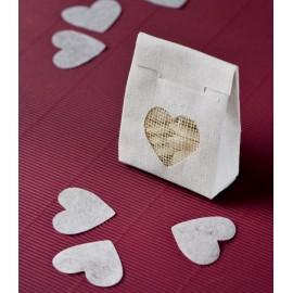 Confettis coeur en tissu non tissé 4 cm les 100 - coloris au choix