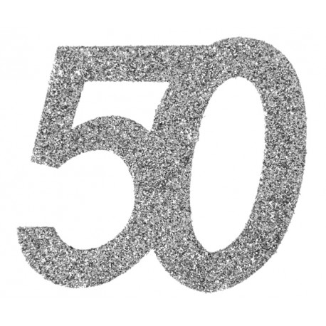 Confettis anniversaire 50 ans argent pailleté les 6