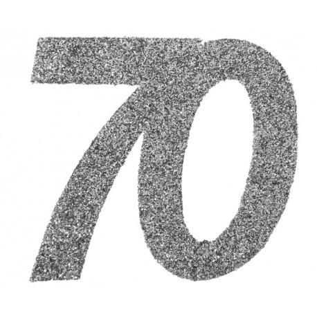 Confettis anniversaire 70 ans argent pailleté les 6