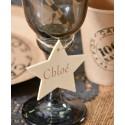 Etiquettes étoile en bois naturel avec cordon les 4