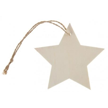 Etiquette étoile en bois naturel avec cordon les 4