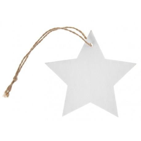 Etiquette étoile blanche en bois avec cordon les 4