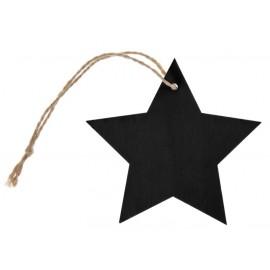 Etiquette étoile ardoise en bois avec cordon les 4