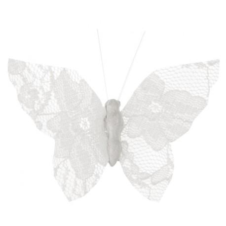 Papillon dentelle blanche sur pince les 4