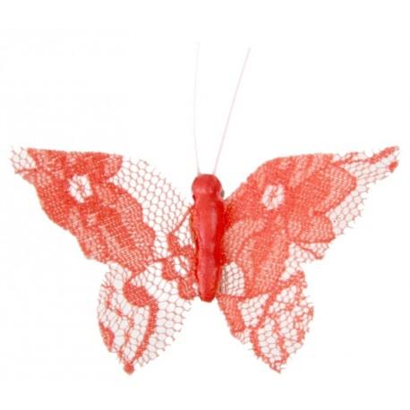 Papillon dentelle corail sur pince les 4