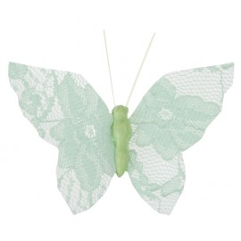 Papillons dentelle menthe sur pince les 4