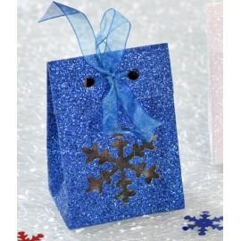 Boîte à dragées flocon de neige bleu pailleté les 4