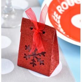 Boîte à dragées flocon de neige rouge pailleté les 4