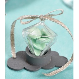 Boîte à dragées diamant plexi transparent les 40