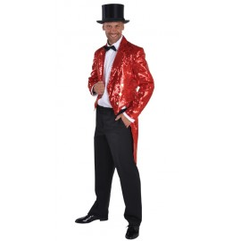 Déguisement queue de pie paillettes sequin rouge homme luxe