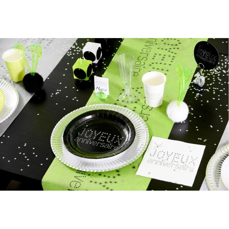 chemin de table joyeux anniversaire vert anis intiss 5 m. Black Bedroom Furniture Sets. Home Design Ideas