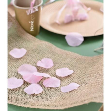 Pétales rose avec feuilles en tissu les 100 pétales de fleurs