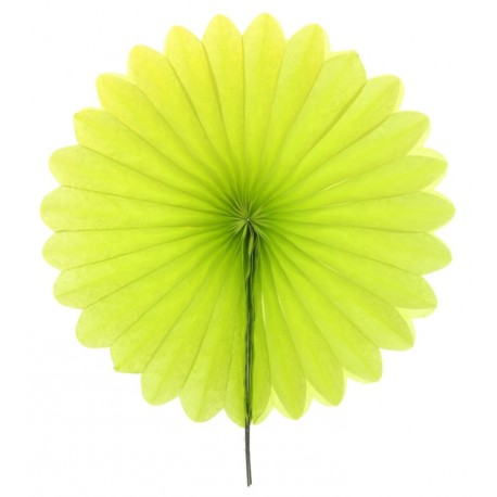Eventail en papier vert anis 40 cm