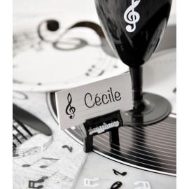 Marque place musique en carton blanc les 10