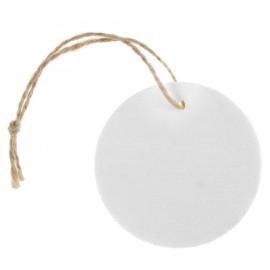 Etiquette ronde en bois blanc avec cordon les 4