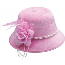 Chapeau charleston années 20-30 femme rose