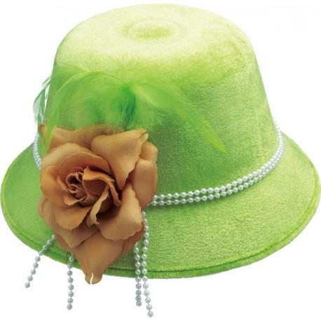 Chapeau charleston années 20-30 femme vert anis