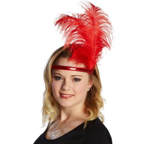 Coiffe charleston rouge femme tiare avec plumes et sequin