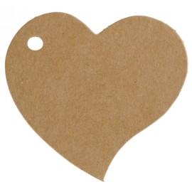Etiquettes coeur kraft naturel les 10