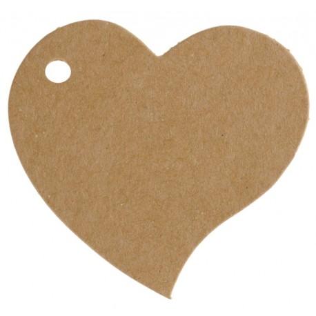 Etiquette coeur kraft naturel les 10