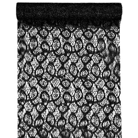 Chemin de table dentelle métallique noire 5 M