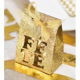 Boîte à dragées Fête or pailletée les 4