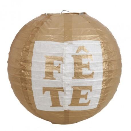 Lanterne boule papier Fête or 20 cm les 2