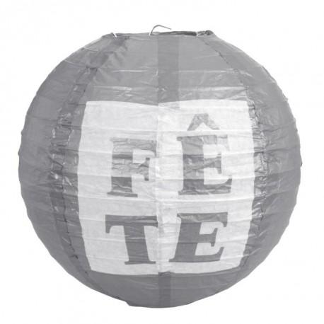 Lanterne boule papier Fête argent 20 cm les 2